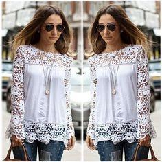 Fashion Women Sheer Sleeve Embroidery Lace Crochet Tee Chiffon Shirt Top Blouse #Noname #Blouse #Casual