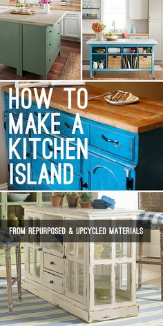 How To Make A Kitchen Island From Repurposed And Upcycled Materials! Get some great tips, ideas and DIY projects on how to make a kitchen island. Click thru to see how easily you can make your own kitchen island. #makeakitchenisland #howtomakeakitchenisland #DIYkitchenislands #DIYhomedecor #DIYkitchenprojects #DIYkitchenideas #kitchenisland