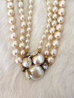 Vintage Signed Miriam Haskell Pearl choker necklace with hand-wired gold metal, baroque pearl and crystal rhinestone detail, Ornate Filigree.