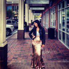 """Black Fitted Cropped Leather Jacket, Crop Top, Long Sequin Skirt<3 #curvy """"if you like my curvy girl's fall/winter closet, make sure to check out my curvy girl's spring/summer closet."""" http://pinterest.com/blessedmommyd/curvy-girls-springsummer-closet/pins/"""
