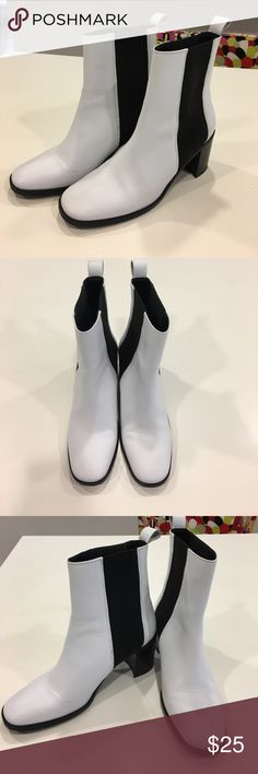 White Zara Ankle Boots White ankle booties from Zara featuring white leather w black accent stripe. Worn once- in excellent condition-like new! Zara Shoes Ankle Boots & Booties
