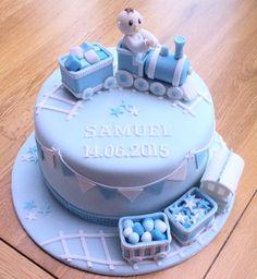 Boys train christening / birthday cake
