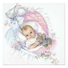Pink Pastel Vintage Baby Girl Shower Card