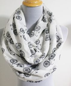 White Bicycle Infinity Scarf Off White with by dailyaccessoriez, $15.99
