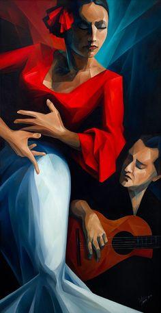 "FLAMENCO Fine Art giclée sobre lienzo, 24 ""x48"""