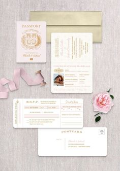 Invite guests to fly away with you on a once in a lifetime adventure! This passport invitation is sure to get your guest excited about your destination wedding. Boarding Pass Invitation, Invitation Set, Invite, Destination Wedding Save The Dates, Destination Wedding Inspiration, Passport Wedding Invitations, Wedding Stationery, Vintage Save The Dates, Dominican Republic Wedding
