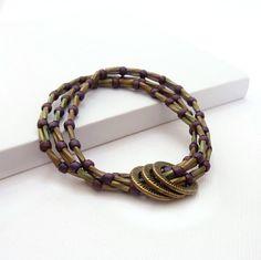 Seed Bead Bracelet Multi Strand Layering by RockStoneTreasures