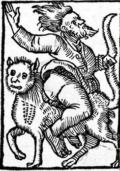 A man rides a cat to a witches' sabbath in this 15th-century illustration.