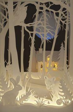 Magic Cupboard by Helen Musselwhite featured in Radiance lighting and craft shop, Hebden Bridge, Yorkshire Pennines UK Paper Book, 3d Paper, Paper Crafts, Diy Crafts, Kirigami, Paper Cutting, Arte Pop Up, Paper Artwork, Book Art