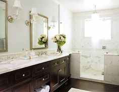 dark wood cabinets with white marble  #bathroom #home #decor