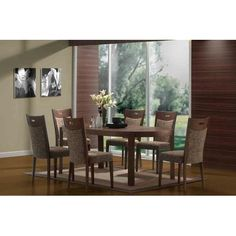 7-Piece Contemporary Oval Dining Set in Walnut Finish