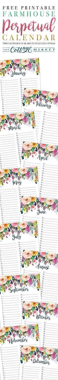 Free Printable Farmhouse Perpetual Calendar