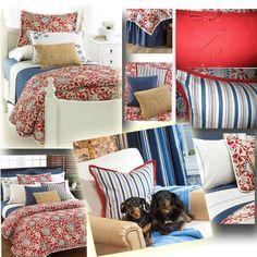 Ralph Lauren Cote D'Azur bedding and linen: decorative pillows, shams, duvet cover, sheets, and bedskirt.