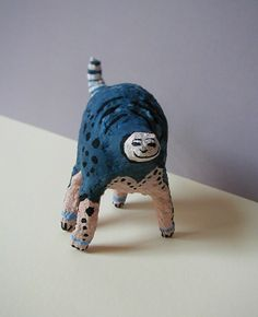 Mystery creature  paper clay and acrylic  by Angela Ranzoni https://www.etsy.com/listing/72326746/peace-beast-of-blue-and-peach?ref=shop_home_active