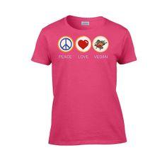 IamTee Womens Peace Love Vegan T-Shirt