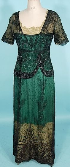 "Circa 1911/1912 Exquisite Black Jet Beaded ""Titanic"" Edwardian Gown. Fully jet black beaded Edwardian gown over green silk with gold lame lace trim."