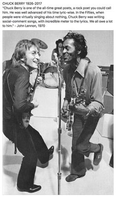 """RIP Mr. Berry. I don't think there would have been The Beatles without the influence of Chuck Berry. """"If you had to give Rock 'n' Roll another name, you might call it Chuck Berry"""" John Lennon with Chuck Berry, Mike Douglas TV Show, 1972"""