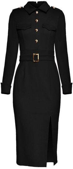Belted Midi Shirt-Dress - Black or Red Fall Fashion Trends, Boho Fashion, Fashion Outfits, Womens Fashion, Fashion Black, Fashion 2018, Cheap Fashion, Fashion Online, Black Funeral Dress
