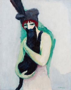Kees van Dongen is known for his paintings of women which sometimes include a cat. Woman and a Cat shows the cat gently curving in the…