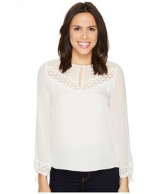 Rebecca Taylor - Long Sleeve Georgette Top w/ Lace (Snow) Women's Clothing