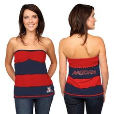 Arizona Wildcats Ladies Navy Blue-Cardinal Red Striped Rebound Tube Top