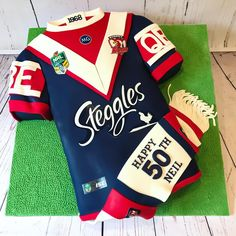 After that epic grand final win, of course it was going to be a Sydney Roosters jersey cake for the birthday boy (er, man). 3 layers of chocolate mud soaked with Kahlua syrup and layered with Kahlua American buttercream. 50th Birthday Cakes For Men, Birthday Party Themes, Boy Birthday, Kahlua Cake, Amazing Cakes, Cake Ideas, Sydney, Christmas Sweaters, Rooster