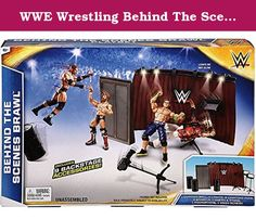 WWE Wrestling Behind The Scenes Brawl Accessory Set. Exciting WWE action doesnt stop when it leaves the ring! The WWE Outside of the Ring play set lets kids go behind-the-scenes with their favorite WWE Superstars for an explosive backstage battle. Let the smack talking begin in the backstage interview area with a WWE microphone, camera, lighting rig and hanging WWE logo. Take it to the next level and into an all-out brawl with a breakable backstage doorway and three barrels for throwing...