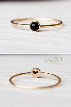 Exquisite, minimalistic ring with black onyx gemstone surrounded with polished bezel. Unique piece of jewelry to wear on its own or stacked. Sweet, tiny heart in the back. Three Stone Engagement Rings, Rose Gold Engagement Ring, Diamond Wedding Bands, Black Onyx Ring, Black Rings, Black Stud Earrings, Ring Set, Minimalist Jewelry, Harry Styles