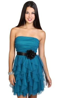 strapless mesh ruffled homecoming dress - Blue - I WANT THIS ONEEE. ! (::