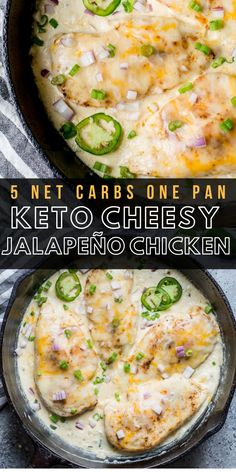 This One Pan Cheesy Jalapeño Chicken is the perfect easy keto dinner with just 5 net carbs! This recipe is perfect for busy nights and easy keto meal prep! #keto #mealprep