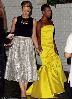 Going public! Orange Is The New Black lesbian couple Samira Wiley (R) and writer Lauren Morelli (L) take their relationship into the spotlight as they leave Emmys bash hand-in-hand Black Couples, Cute Couples, Samira Wiley, Black Lesbians, Lesbian Love, Lesbian Couples, By Any Means Necessary, Orange Is The New Black, Girls In Love