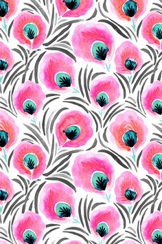 Feathered Pink Flowers by crystal_walen - Hand painted pink and turquoise flowers on fabric, wallpaper, and gift wrap. Bold bright pink with black/gray strokes in the background. #handpainted #flowers #floralpattern #fabric #crafty #makeit #surfacedesign