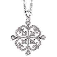 NEW 14k WHITE GOLD DIAMOND ANTIQUE CLOVER SCROLL PENDANT NECKLACE CHARM  #Pendant