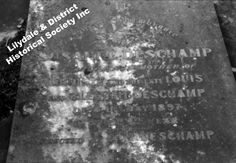 10078 Headstone at Lilydale Cemetery of Susanne Deschamp. CE2 13/14. Sandy's Neg No 3-2. Inscription: In / Loving Remembrance / of / Susanne Deschamp / dearly loved  mother of / Auguste and the late Louis / and Clement Deschamp/ died 11th May 1897 / in her 84th year / erected by A M Deschamp