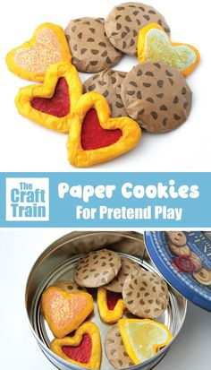 DIY pretend play cookies made from paper. Perfect for pretend tea parties! Paper Crafts For Kids, Arts And Crafts Projects, Preschool Crafts, Preschool Ideas, Easy Crafts, Pretend Food, Play Food, Pretend Play, Creative Activities For Kids