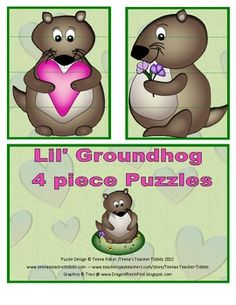 This 30 page unit contains 9 different activities for your toddler or young preschooler. Includes:Lil' Groundhog Puzzles - 6 - 4 piece puzz...