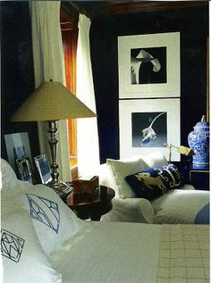 Cool Chic Style Fashion: RALPH LAUREN wall art, guest room, dark rooms, blue walls, bedroom walls, dark walls, blue bedrooms, bedroom boys, bedroom art