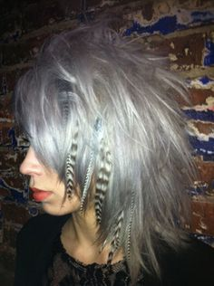 Silver hair - I would like this a LOT more if she didn't have the feathers in her hair.