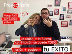 Unidos el equipo de http://www.proyectizate.com te AYUDA con mucho esfuerzo... y es que QUÉ DURO es TRABAJAR ¿no Raúl? http://www.araceligisbert.com
