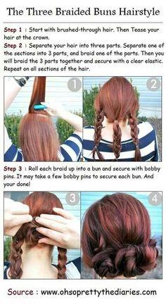 three braided bun hairstyle