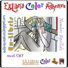 #EXlibrisColor Chica Art pop leyendo Referencia C87  Las pinturas de #Lichtenstein comparten un vínculo directo a la imagen habitual de la cultura popular norteamericana, ilustrando claramente la idealización de la producción en masa. ¡Diseño disponible en sello de caucho! (w066) #EXLibris Creativos Color es la manera más original y divertida de personalizar tus #libros y #comics!!  ¡¡Visita nuestra web http://exlibriscreativos.es y déjate sorprender!! #ComparteCultura #RegalaEXlibris…