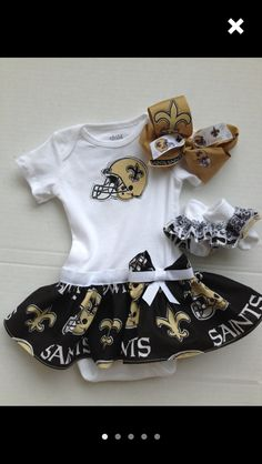New Orleans Saints Baby Girl With Bow   Socks Oh my gosh! I may have to get  this in month size! I ve got newborn and month gear for charley 2ed70807b