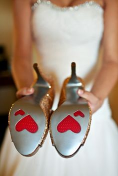 Vintage Inspired Maryland Wedding Silver Shoes Red Heart Soles 275x412 Wes + Julias Elegant Vintage Inspired Maryland Wedding