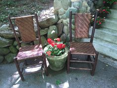 Pair Old Hickory panel back chairs. SOLD, Christibys