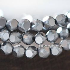 Frosted Faceted Round Crystal Glass beads 6mm, Matte Metallic Silver (GM023-11)/ 100 beads