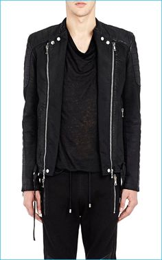 Balmain Twill Biker Jacket