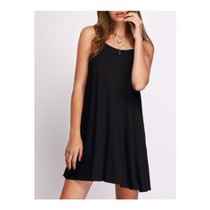 SheIn(sheinside) Black Flower Spaghetti Strap Casual Pleated Dress ($11) ❤ liked on Polyvore featuring dresses, black, sleeveless shift dress, short slip, short spaghetti strap dress, slip dress and summer shift dresses