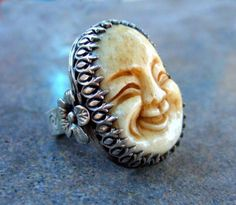 Image result for white jade laughing buddha silverring