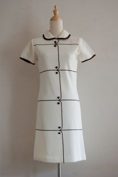 1960s Sears cream and brown day dress