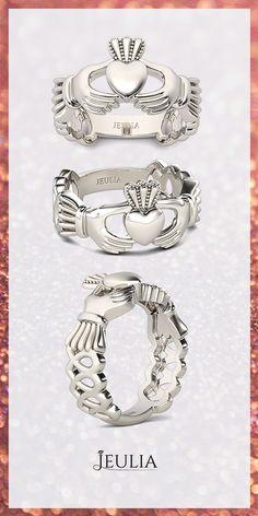 Elegant Rhodium Plated 925 Sterling Silver Women's Claddagh Ring / Women's Ring #Jeulia